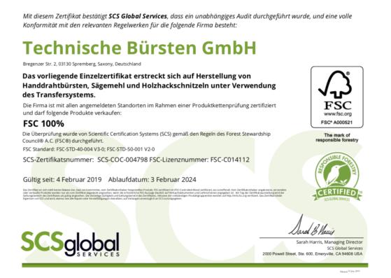 Die Technische Bürsten GmbH erhält erneut ein FSC Zertifikat
